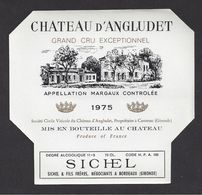 Etiquette De Vin Bordeaux Margaux 1975 - Cru Bourgeois Supérieur - Chateau D'Angludet - SCV à Cantenac (33) - Bordeaux