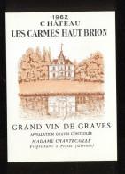 Etiquette De Vin  -  Chateau Les Carmes Haut Brion  -  Graves  -  1962 - Bordeaux