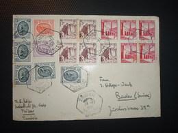 LETTRE Pour La SUISSE TP 2F BLOC De 4 + 1 + TP 1F BLOC De 5 + TP 4f + 2F X5 + 1F OBL. HEXAGONALE 14-11 1955 THIBAR - Tunesien (1888-1955)
