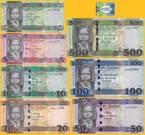 South Sudan Set 1 5 10 20 50 100 500 Pounds 2011-2018 UNC - Soudan Du Sud