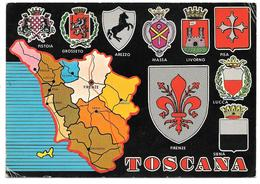TOSCANA - Carte Géographique Administrative Et Blasons: Firenze, Pistoia, Grosseto, Arezzo, Massa, Livorno, Pisa, Lucca - Non Classés