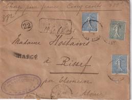 FRANCE 1905 LETTRE CHARGE DE PARIS POUR RISSEF - Marcofilie (Brieven)
