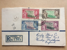 SOUTHERN RHODESIA 1937 Coronation Registered First Day Cover - Salisbury To Ruislip England - Southern Rhodesia (...-1964)