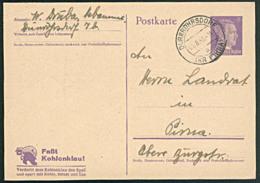 "DR: GA-Postkarte Mit 6 Pf Adolf Hitler Werbe-Druck ""Faßt Kohlenklau!"" Aus Dürrröhrsdorf (Kr Pirna) V 4.8.43 Knr: P312/01 - Deutschland"