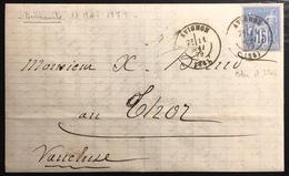 1879 Sage N°90 Obl 15c Bleu N/U Oblitéré Du 11 Mai 1879...soit Un Dimanche  !! Jour Férié ... - 1876-1898 Sage (Type II)