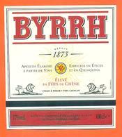 étiquette D'apéritif Byrrh élevé En Futs De Chene Chais à Thuir Pays Catalan - 100 Cl - Labels