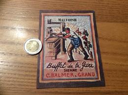 Etiquette Vin Suisse «MALVOISIE -C.BALMER GRAND - Buffet De La Gare SIERRE » - Vino Blanco