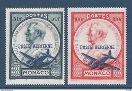 Monaco Poste Aérienne - PA YT N° 13 Et 14 - Neuf Avec Charnière - 1946 - Poste Aérienne