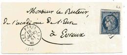 - SEINE - PARIS - Grille Noire S/TPND N°4 Bleu Fonçé + Càd Type 15 -  Sur Devant -1851 - 1849-1850 Ceres