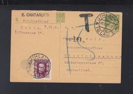 Czechoslovakia Stationery 1925 Jilhava To Germany Tax - Czechoslovakia