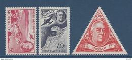 Monaco Poste Aérienne - PA YT N° 19 à 21 - Neuf Avec Charnière - 1946 - Poste Aérienne