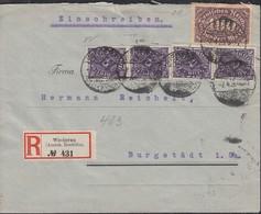 INFLA  DR 219, 4x 230 W MiF, Auf R-Brief  Mit Stempel: Wiederau 7.4.1923 - Infla