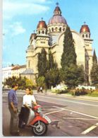 CPA TRANSPORT, MOTORBIKES, SCOOTER, TARGU MURES CATHEDRAL - Motos