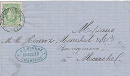 788/27 - Lettre TP 30  BACONFOY TENNEVILLE 1875 Vers MARCHE - Cachet Banquier Henroz à CHAMPLON - NIPA 250 X 3. - 1869-1883 Leopold II