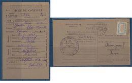 "FR Service YT 15A "" Carte Questionnaire De Ravitaillement "" Montgilbert + Cachet Mairie - Dienstpost"