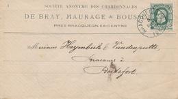789/27 - Lettre TP 30  BRACQUEGNIES 1883 à BOITSFORT - Entete Charbonnages De Bray , Maurage Et Boussu - NIPA 150 X 3. - 1869-1883 Leopold II