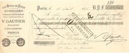 TRAITE EFFET BANCAIRE 1896 V. GAUTIER 6 RUE LAMARTINE PARIS - AUX MINES DE SUEDE QUINCAILLERIE - MINE - OUTIL MONTÉ - France