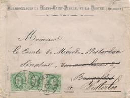 790/27 - Lettre TP 30x3  HAINE ST PIERRE 1877 à WESTERLOO - Entete Charbonnages De Haine Et La Hestre - 1869-1883 Leopold II