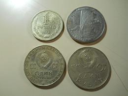 Russia Lot 4 Coins 1 Rouble - Monnaies & Billets