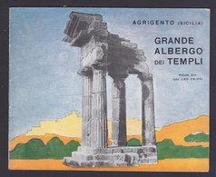SICILIA - AGRIGENTO - GRANDE ALBERGO Dei TEMPLI - Publicité Pubblicità FOLDER BROCHURE GUIDE 1939 (see Sales Conditions) - Dépliants Turistici