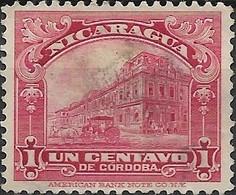 NICARAGUA 1937 National Palace, Managua - 1c - Red FU - Nicaragua