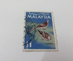 "(SSBS) Malaysia Old Bird Series Stamp Merbok With Perfins ""OC"" $1 Used - Malaysia (1964-...)"