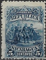 NICARAGUA 1892 Discovery Of America - 5c First Sight Of The New World MH - Nicaragua