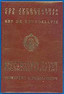 SFRJ/SRJ - YUGOSLAVIA  PASSEPORT DIPLOMATIQUE - DIPLOMATIC PASSPORT - DIPLOMATSK PASOS. 16+ DIPLOMATIC VISAS!! - Documents Historiques