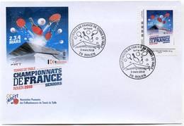 FRANCE 2018 - Rouen - Chts De France - Env Illustrée + MTAM + Cachet Temporaire - Tennis Table Tischtennis Postmark - Tischtennis