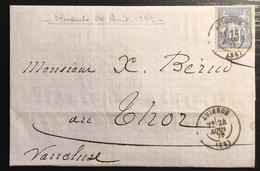 1879 Sage N°90 Obl 15c Bleu N/U Oblitéré Du 24 Aout 1879...soit Un Dimanche  !! Jour Férié ... - 1876-1898 Sage (Type II)