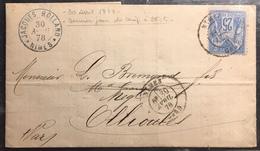 1878 Sage N°79 Obl 25c Bleu N/U Oblitéré Du 30 Avril 1878...soit Le Dernier Jour Du Tarif à 25 Cts ... - 1876-1898 Sage (Type II)