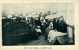 FRIBOURG Pensionnat Jeanne D'Arc Pensionnaires En Excursion Sur Le Lac Léman 1906 (points De Colle Derrière La Carte) - FR Fribourg
