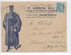 """1944 - ENVELOPPE PUB DECOREE Des COSTUMES """"GERIN"""" à ORANGE (VAUCLUSE) - Marcophilie (Lettres)"""