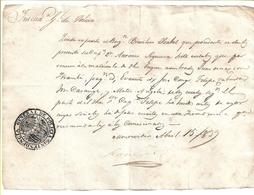 BRAZIL - 1839 SLAVES - MONTEVIDEO POLICE CERTIFIES THE SLAVES ON BOARD OF BERGANTIN FROM SANTOS - Even Disappeared Slave - Documents Historiques