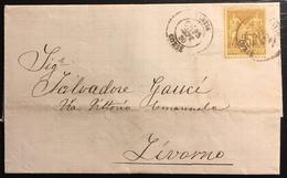 Lettre France 1879 Sage N°92 Obl 25c Bistre /jaune N/U Oblitéré De Bastia Pour Livourne Italie - 1876-1898 Sage (Type II)