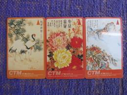 GPT Phonecard,6MACA,B,C, Chinese Painting, Set Of 3, Used,special Price - Macau