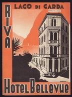 LAGO Di GARDA - RIVA - HOTEL MONTE BELLEVUE - Publicité Pubblicità FOLDER BROCHURE GUIDE 1937 (see Sales Conditions) - Dépliants Turistici