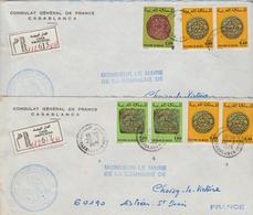 2 Lettres Recommandées 1978 Consulat De France Au Maroc Pour La France - Morocco (1956-...)