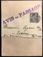 Lettre France Tarif Carte Publicitaire 1898 Sage N°83 1c N/U Obl +griffe Avis De Passage...TTB - 1876-1898 Sage (Type II)