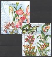 X489 2012 GUINE GUINEA-BISSAU FLORA PLANTS FLOWERS ORQUIDEAS ORCHIDS 1KB+1BL MNH - Orchideen