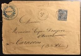 Lettre France 1879 Sage N°90 Obl 15c Bleu N/U Oblitéré Du Convoyeur Station De Lamanon (indice 20) Pour Tarascon RR - 1876-1898 Sage (Type II)