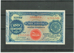 BANKNOTES-ANGOLA -20 CENTAVOS--BANCO NACIONAL ULTRAMARINO-- 5 NOVEMBRO 1914 - Angola
