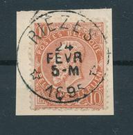 797/27 - Cachet RELAIS à Etoiles RIEZES 1895 Sur TP Fine Barbe 58 Sur Fragment - -FRAPPE LUXE - COBA 15 EUR - 1893-1800 Fijne Baard