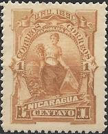 NICARAGUA 1891 Goddess Of Plenty - 1c - Brown MH - Nicaragua
