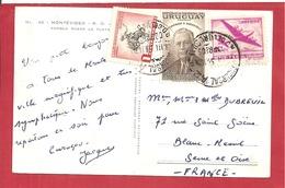 Y&T N°622+624+ MONTEVIDEO   Vers  FRANCE 1969  2 SCANS - Uruguay