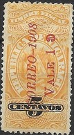 NICARAGUA 1908 Fiscal Stamp Surcharged - 1c. On 5c - Yellow MH - Nicaragua