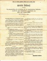 ARRETE FEDERAL - REVISION DE LA CONSTITUTION FEDERALE 3.08.1880 - SUISSE. - Decreti & Leggi