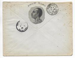 """1908 - ENVELOPPE PUB DECOREE """" RHUM MOKO """" De ERNEST LASSERRE à BORDEAUX - ALCOOL - Marcofilie (Brieven)"""