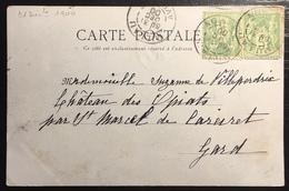 Carte Postale 1900 Sage N°102 Obl 5c Vert N/B Oblitéré Du 31 Décembre 1900...soit Le Jour De L'an !! Jour Férié ... - 1898-1900 Sage (Type III)