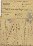 LOT DE 8 LETTRES DE CHANGE TIMBREES -BANQUE FRANCAISE INDUSTRIELLE -LYON - ANNEE 1898 - Cambiali